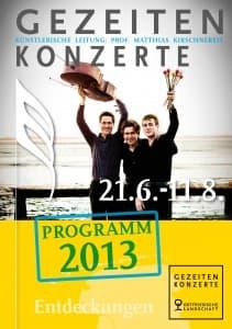 Entwurf Titel Programmheft der Gezeitenkonzerte 2013