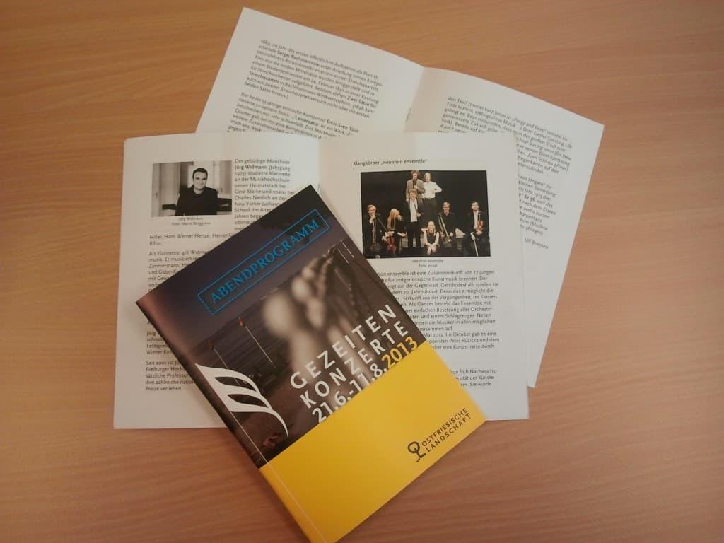 Abendprogramme der Gezeitenkonzerte 2013 mit Texten zu Komponisten, Werken und Künstlern