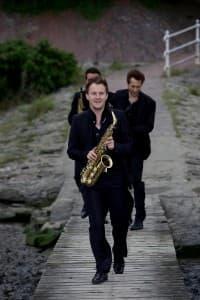 Das SIGNUM Saxophonquartett auf dem Weg zur Gezeiten-Fotosession, Foto: Karlheinz Krämer