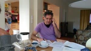Matthias Kirschnereit beim Telefonat zur Vorbereitung der Gezeitenkonzerte 2014