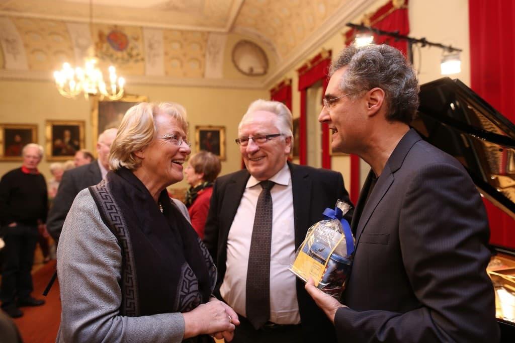 Eske Nannen, Helmut Collmann und Matthias Kirschnereit im Gespräch, Foto: Karlheinz Krämer