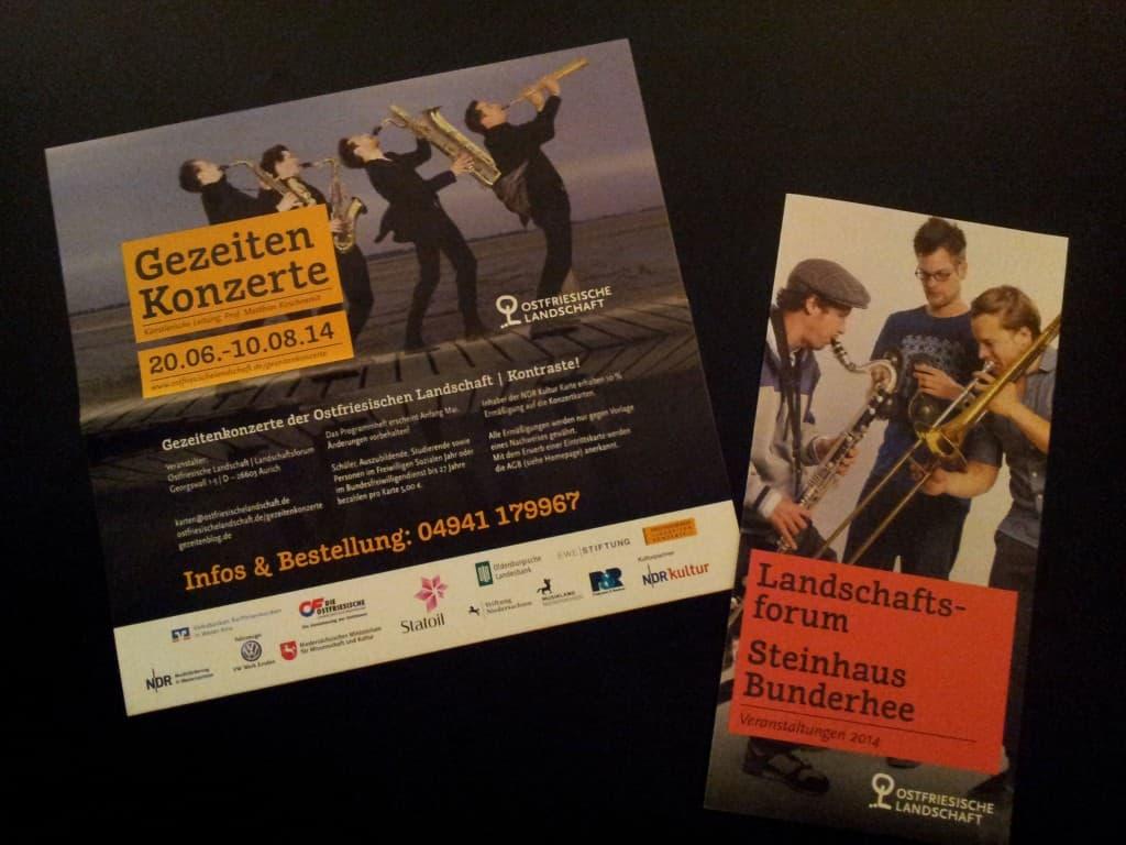 Das Faltblatt mit allen Terminen der Gezeitenkonzerte und der Flyer für die Veranstaltungen im Landschaftsforum und im Steinhaus
