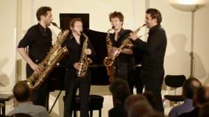 STGNUM saxophone quartet bei der 2. Langen Nacht der Gipfelstürmer der Gezeitenkonzerte 2014, Foto: Karlheinz Krämer