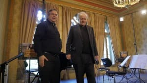 Ulf Brenken und Wolfgang Rihm beim 'Komponistenporträt Rihm' im Rahmen der Gezeitenkonzerte, Foto: Karlheinz Krämer