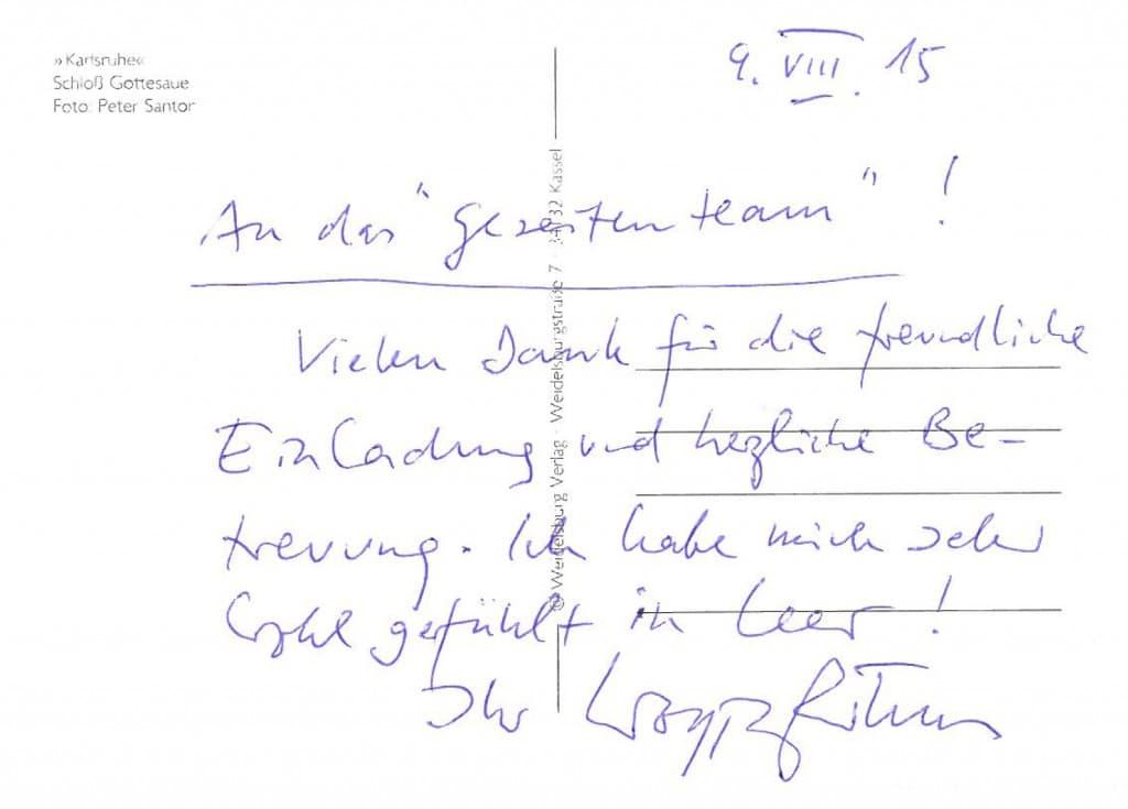 Dankes-Karte von Wolfgang Rihm im Anschluss an sein Porträtkonzert Neue Musik in der Evenburg